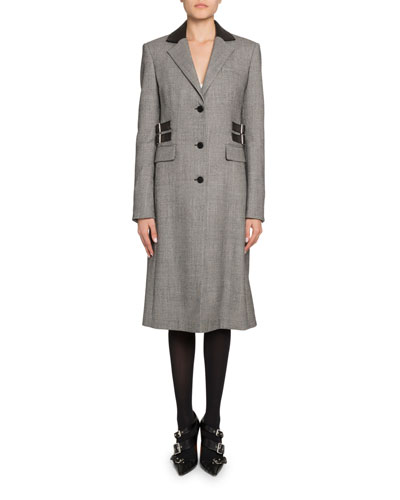 Plaid Leather-Collar Single Breasted Coat