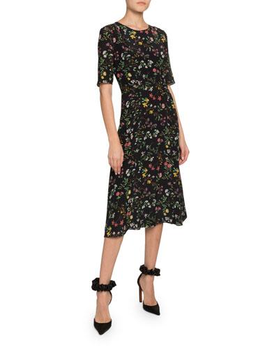 1/2-Sleeve Floral-Print Georgette Midi Dress