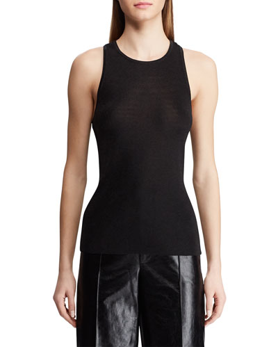 Shimmered High-Neck Racerback Tank