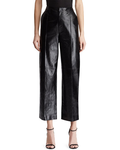 Randall Leather Pleated Crop Pants