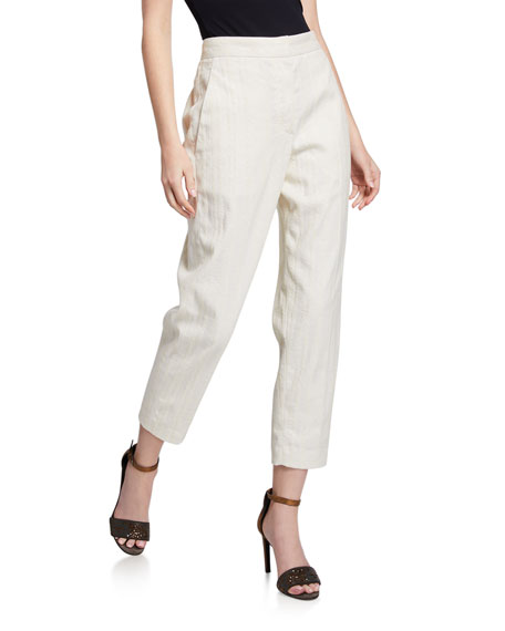 Brunello Cucinelli Sequined Linen-Cotton Chevron Twill Pants