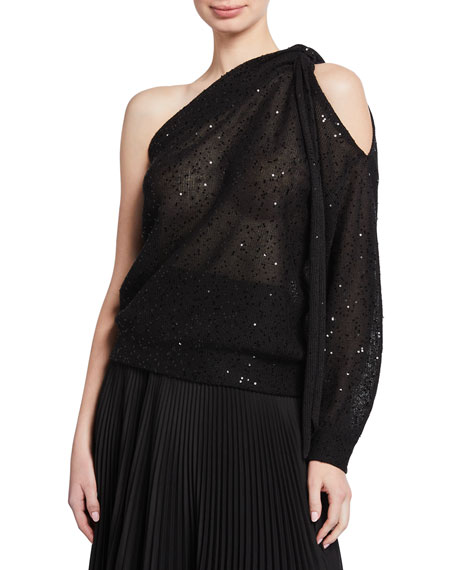 Brunello Cucinelli Sequined One-Shoulder Sweater