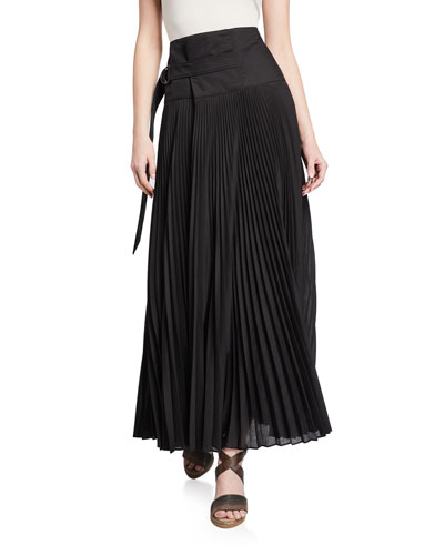 Pleated Cotton D-Ring Maxi Skirt