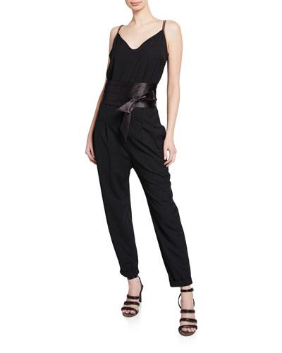Monili-Strap Satin-Belted Wool Jumpsuit