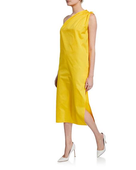 Max Mara Dresses One-Shoulder Poplin Dress, YELLOW