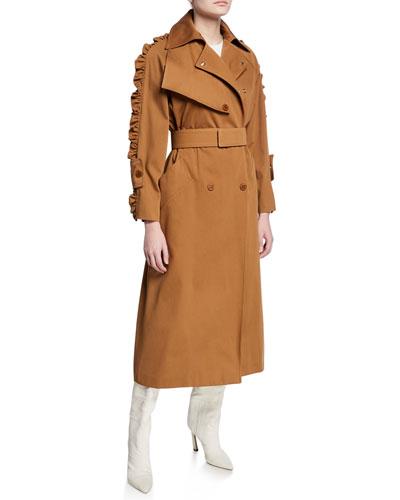 Ruffled-Sleeve Trench Coat