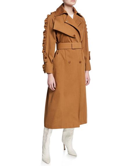 Maxmara Ruffled-Sleeve Trench Coat