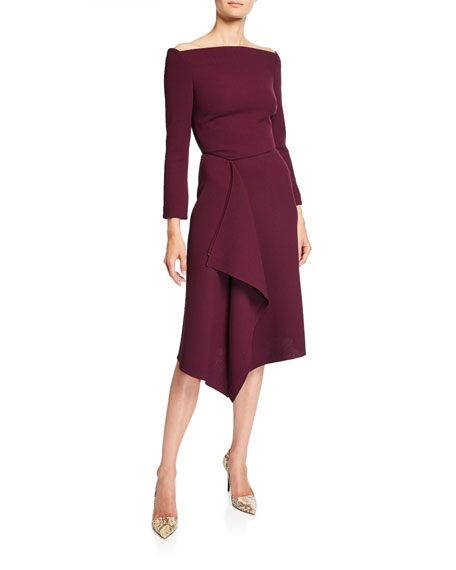 Off-the-Shoulder Square-Neck Draped Jersey Dress