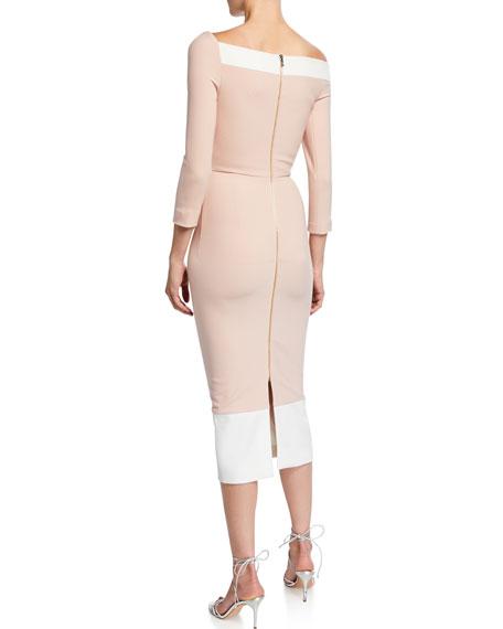 Asymmetric One-Shoulder Crepe Bodycon Dress