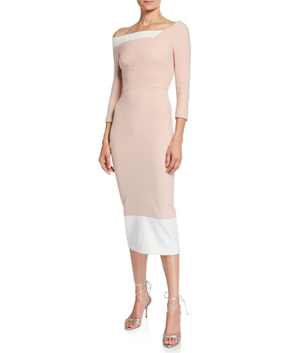 cf8b8ec3 Asymmetric One-Shoulder Crepe Bodycon Dress