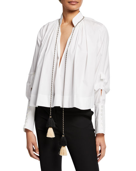 Tassel-Neck Cotton Blouse