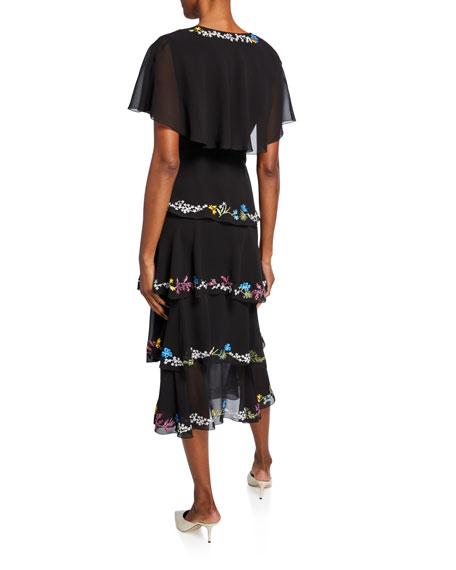 Silk Wrapped Flutter Sleeve Dress