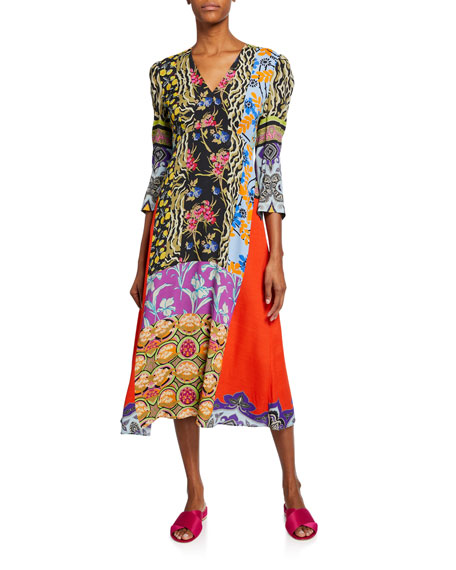 Etro Animal Print & Floral Collage Patchwork Dress