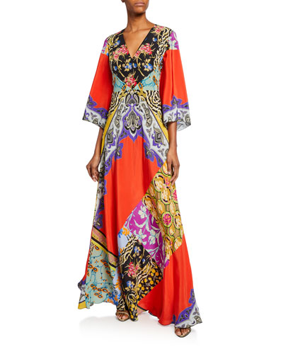 Animal Print Collage Patchwork Caftan