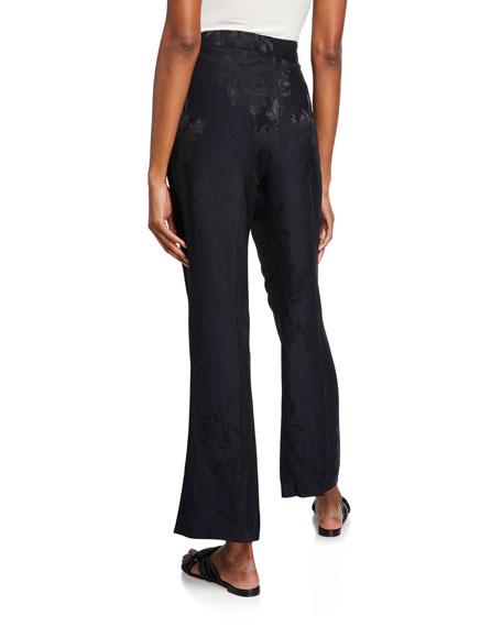 Jacquard Silk Flared Crop Pants