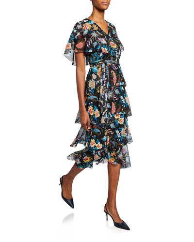 Fern Floral Tiered Ruffle Dress