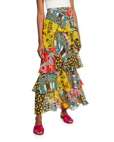 Paisley Collage Tiered Skirt