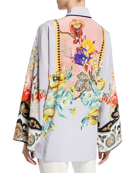 Place Rose Floral Tie-Neck Tunic
