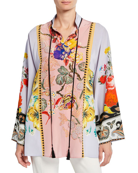 Etro Place Rose Floral Tie-Neck Tunic