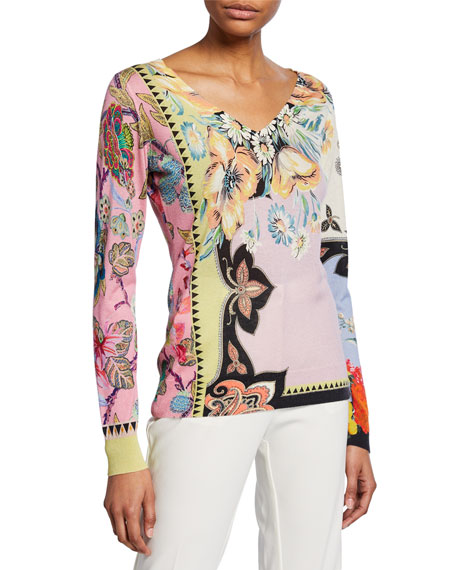 Paisley Silk-Cashmere V-Neck Sweater