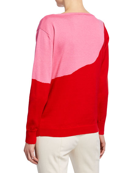 Bow-Neck Two-Tone Sweater