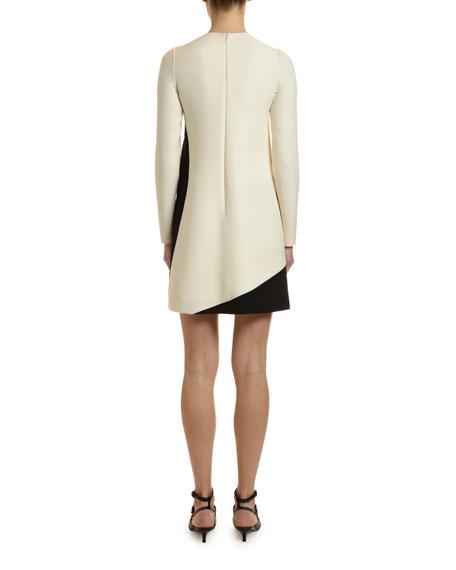 Long-Sleeve Moon-Print Crepe Couture Dress