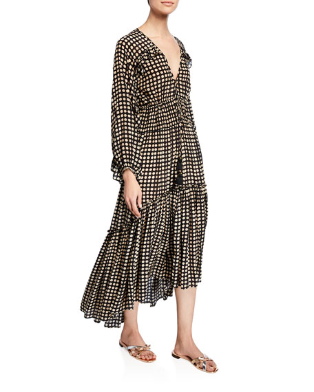 Figue Alessia Moon-Dotted Long-Sleeve Dress