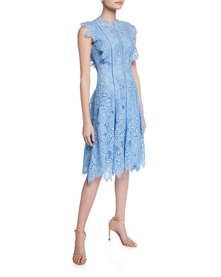 Lela Rose Flutter-Sleeve Guipure Lace Dress