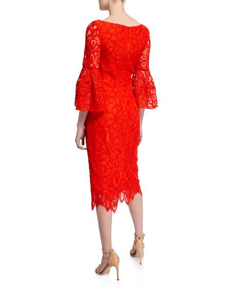 V-Neck Flutter-Sleeve Guipure Lace Dress