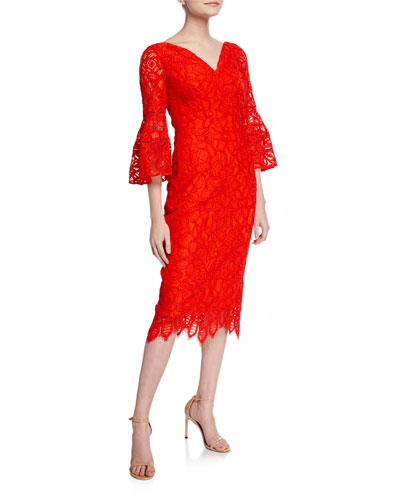 V-Neck Flutter-Sleeve Guipure Lace Dress