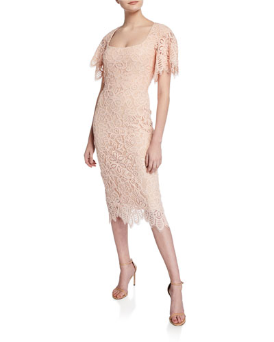 Open-Neck Flutter-Sleeve Lace Sheath Dress