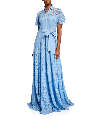 Lace Flutter-Sleeve Shirt Gown