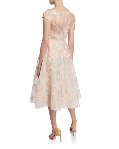 Floral Jacquard Full-Skirt Dress