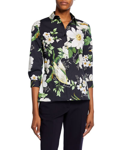 Midnight Floral-Print 3/4-Sleeve Shirt