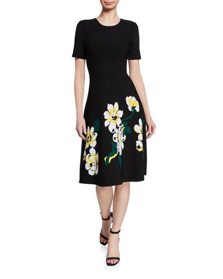 Carolina Herrera Magnolia Short-Sleeve Crepe Dress