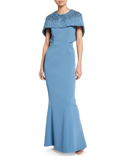 Rhinestone-Embellished Capelet Gown