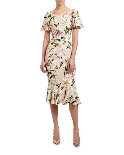 5f9f4462 Lily Print Flutter Sleeve Bodycon Dress Quick Look. Dolce & Gabbana