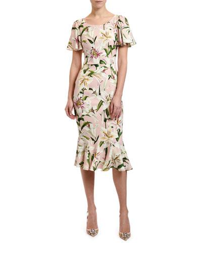 061ba6ee Lily Print Flutter Sleeve Bodycon Dress Quick Look. Dolce & Gabbana