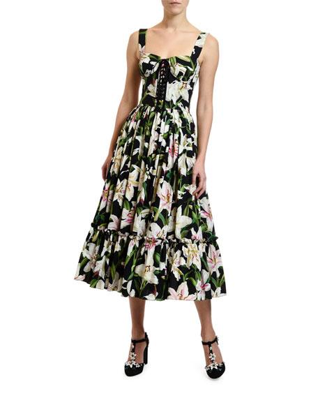 e91bc8e62e0 Dolce & Gabbana Lily Print Corset Midi Dress