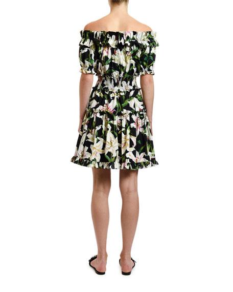 Off-the-Shoulder Lily Print Dress