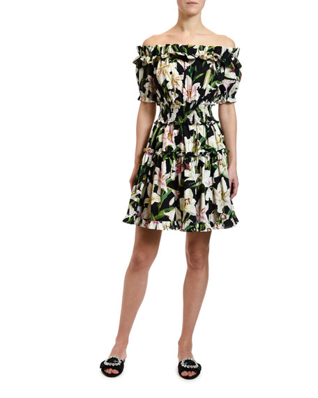 b5badbc6 Dolce & Gabbana Off-the-Shoulder Lily Print Dress