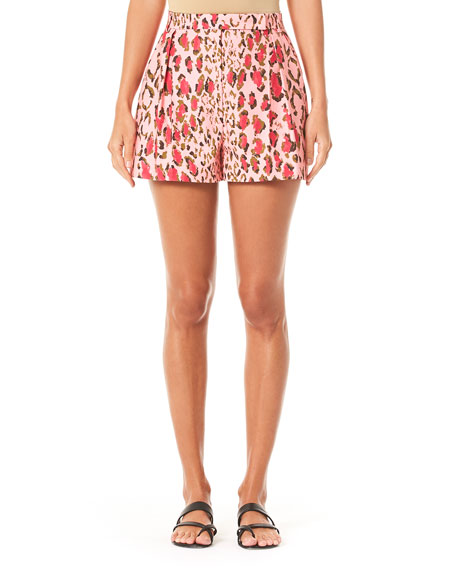 Carolina Herrera Leopard-Pattern Pleated Cotton Shorts