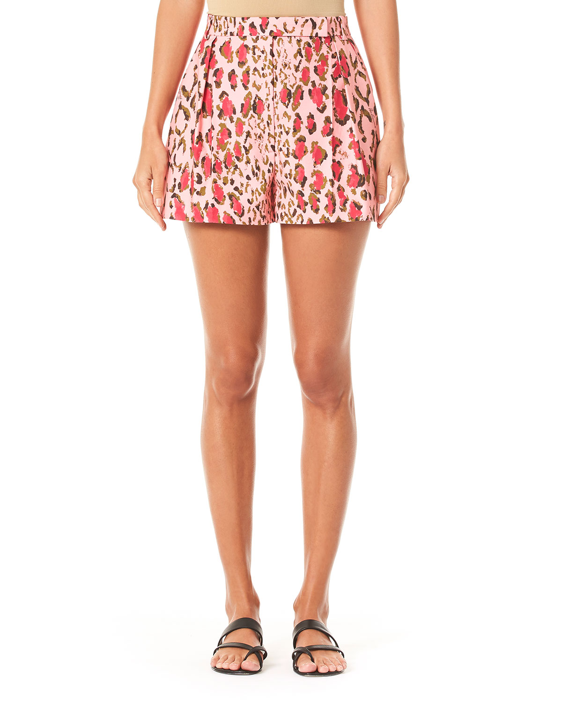 Leopard Pattern Pleated Cotton Shorts by Carolina Herrera