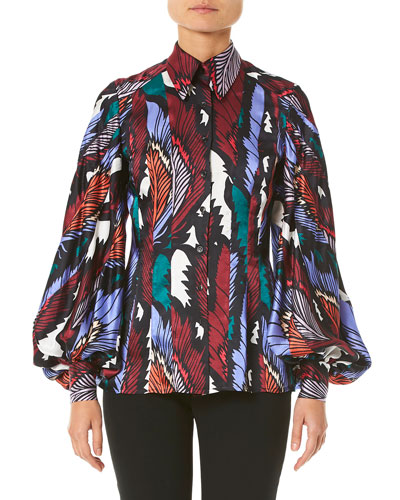 a965bef21383 Puff-Sleeve Printed Button-Front Shirt