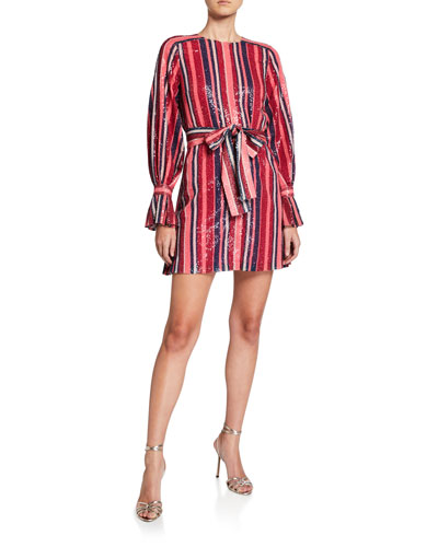 Puff-Sleeve Striped Sequin Mini Dress