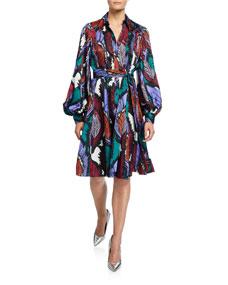 Puff Sleeve Feather Print Dress by Carolina Herrera