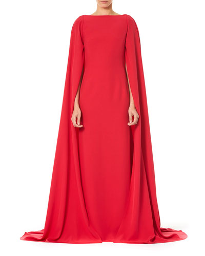 Bateau-Neck Column Cape Gown