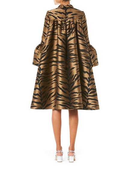 Flare Sleeve Tiger Print Cape Coat