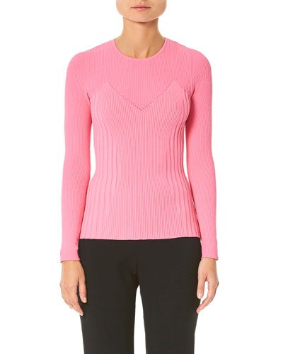 Long-Sleeve Crewneck Ribbed Sweater