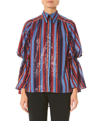 Sequined Puff-Sleeve Button Front Shirt
